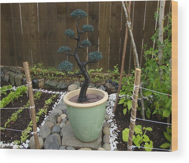 Tree Wood Print featuring the sculpture Bonsai Tree Large by Scott Faucett
