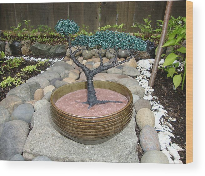 Tree Wood Print featuring the sculpture Bonsai Tree Round Brown Planter by Scott Faucett