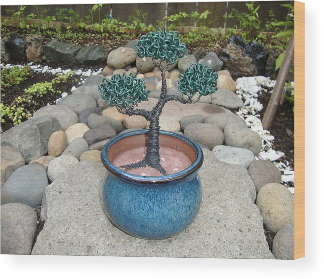Tree Wood Print featuring the sculpture Bonsai Tree Small Round Planter Blue by Scott Faucett