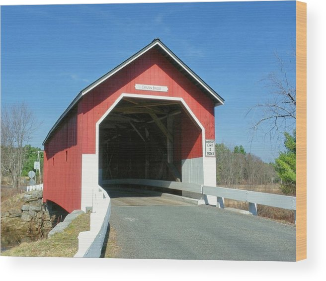 Nh Wood Print featuring the photograph Carlton Covered Bridge by Wayne Toutaint