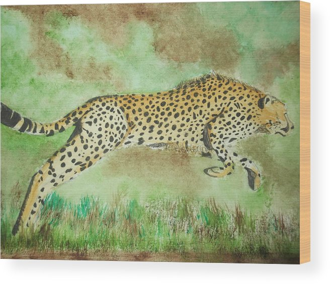 Cheetah Wood Print featuring the mixed media Cheetah by Sharon Tuff