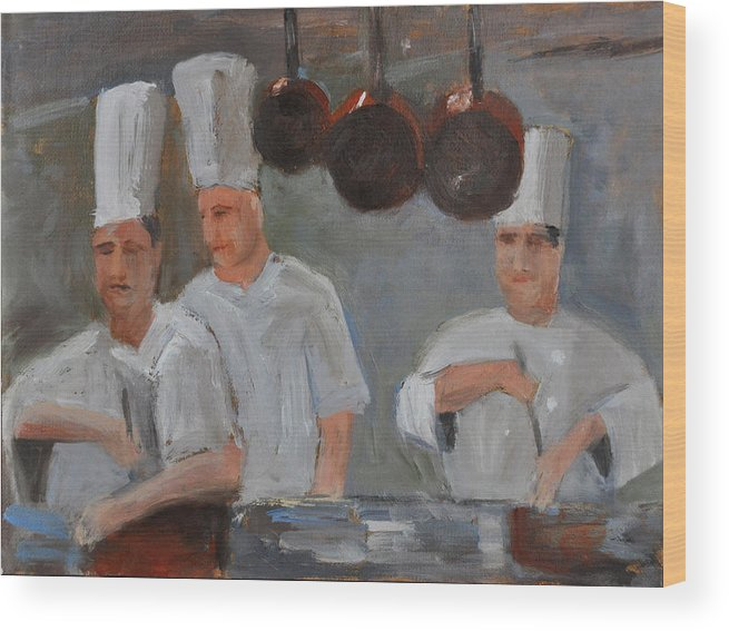 Chef Wood Print featuring the painting Chef's Secret by Rick Jamison