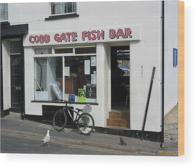 Lyme Regis Wood Print featuring the photograph Cobb Gate Fish Bar by Sheila Rodgers