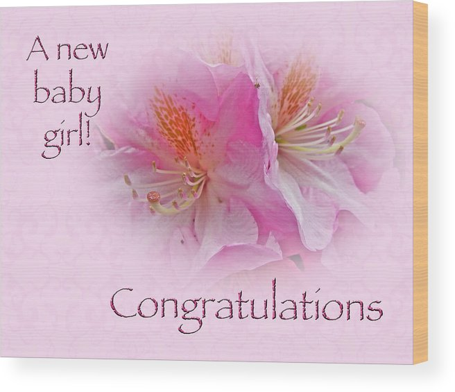 congratulation wood print featuring the photograph congratulations new baby girl azaleas by mother nature