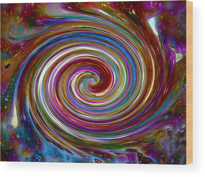 Bright Wood Print featuring the digital art Cyclone Of Color by Tanya Jacobson-Smith