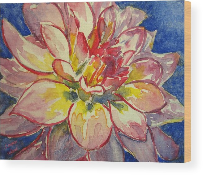 Dahlia Wood Print featuring the painting Dahlia by Corynne Hilbert