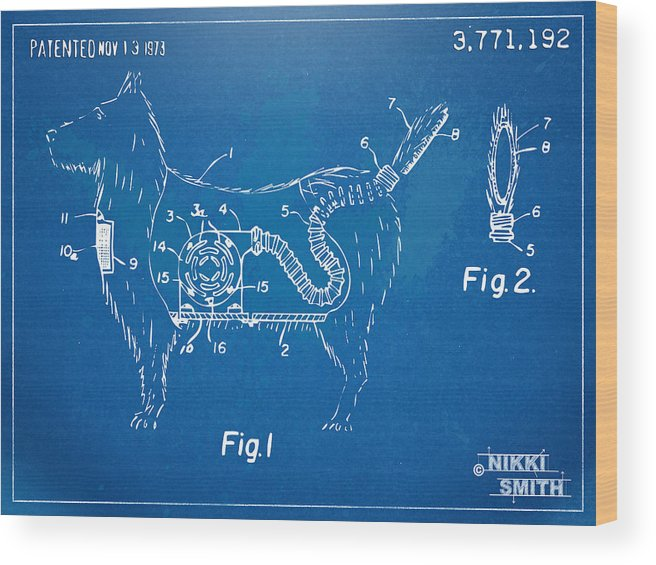 Patent Wood Print featuring the digital art Doggie Vacuum Patent Artwork by Nikki Marie Smith
