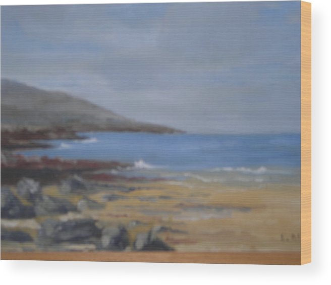 Eilis Blake Wood Print featuring the painting Fanore Beach by Eilis Blake