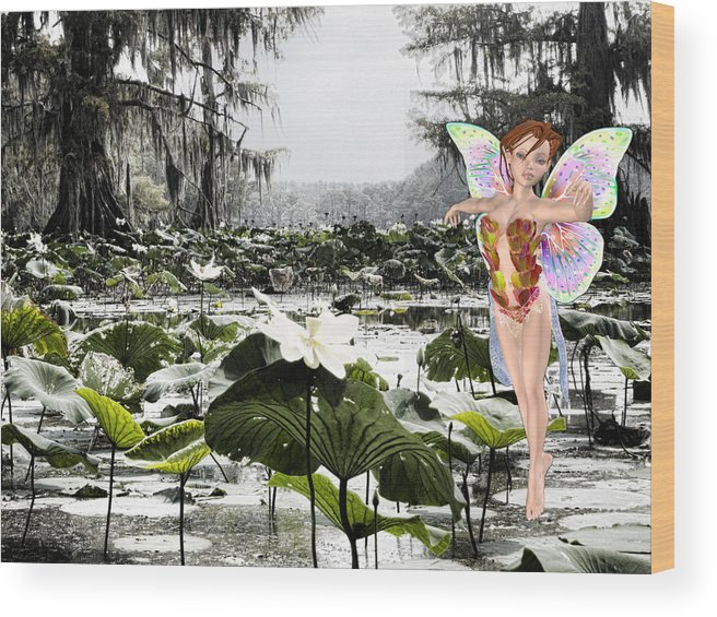 Lillies Wood Print featuring the mixed media Fantasy Woods by Douglas Barnard