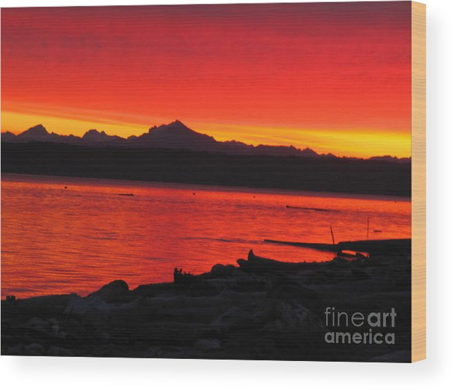 Water Wood Print featuring the photograph Fire Morning by Bruce Borthwick