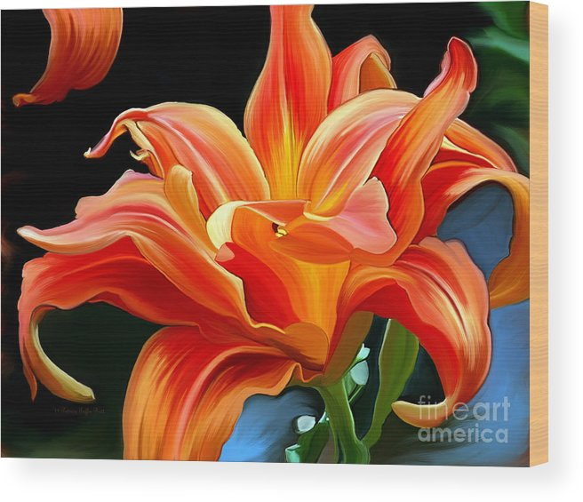 Flower Painting Wood Print featuring the painting Flaming Flower by Patricia Griffin Brett