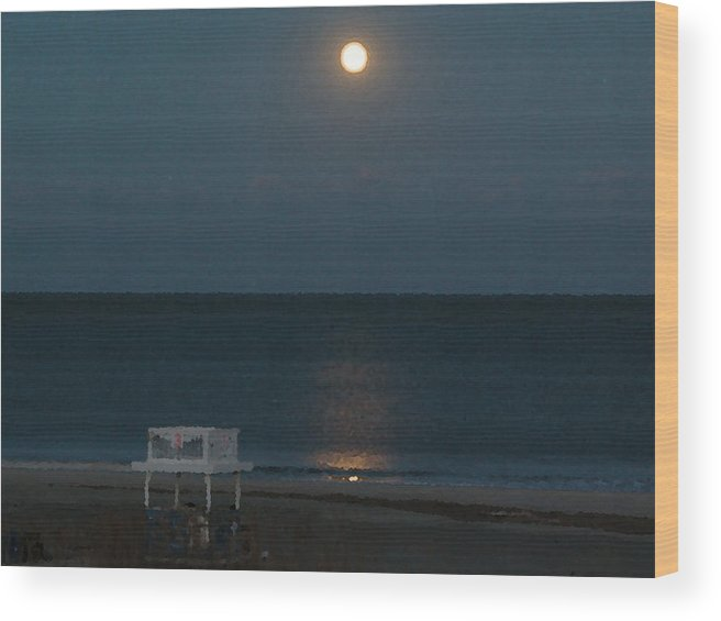 Tybee Island Wood Print featuring the digital art Full Moon Over Third Street Guard Station by Rhodes Rumsey