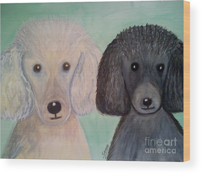 Watercolor Wood Print featuring the painting Gabriel And Belle by Serene Clontz