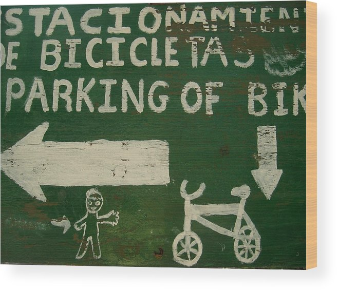 Sign Wood Print featuring the photograph Get Off The Bike by Oscar CastaNon