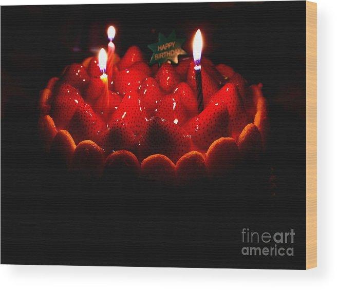 Happy Birthday Strawberry Charlotte Cake Wood Print By Wingsdomain