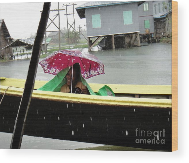 Old Wood Print featuring the photograph Happy In The Rain by Nika One