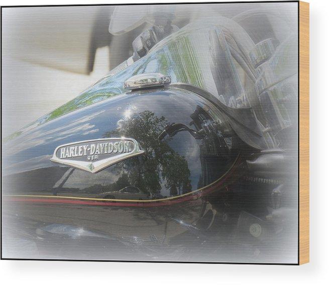 Harley Davidson Wood Print featuring the photograph Harley Davidson Emblem by Kay Novy