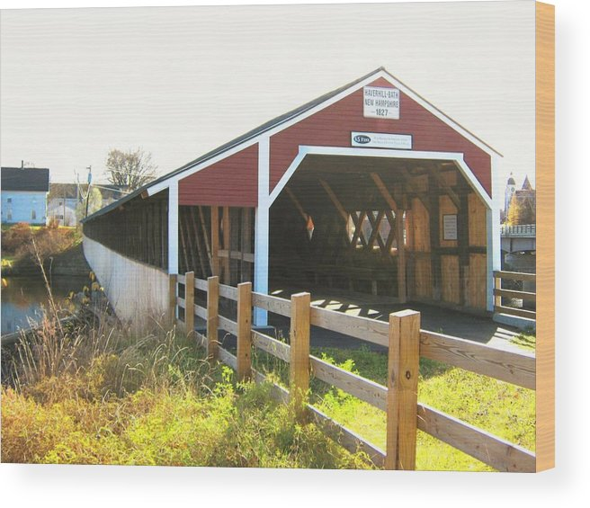 Nh Wood Print featuring the photograph Haverhill-bath Covered Bridge by Wayne Toutaint