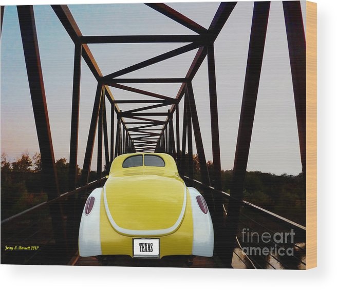 Yellow Wood Print featuring the mixed media Hot Rod by Jerry L Barrett