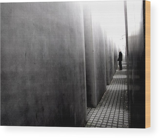 Berlin Wood Print featuring the photograph Inside The Memorial To The Murdered Jews Of Europe by Stephanie Olsavsky