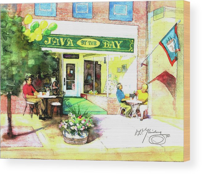 Java By The Bay Wood Print featuring the painting Java By The Bay by Craig A Christiansen