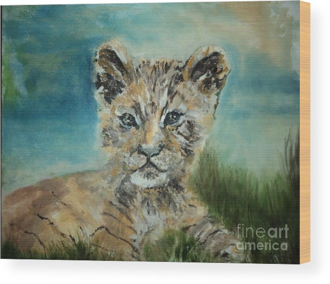Wild Cat Kitten Wildlife Tiger Lion Wood Print featuring the painting Kitty by Lynn Welker