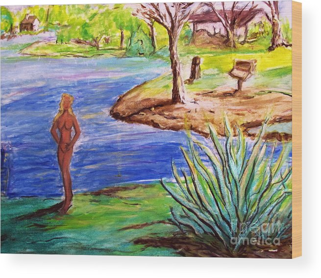 Lady By Lake Wood Print featuring the painting Lady By The Lake by Stanley Morganstein