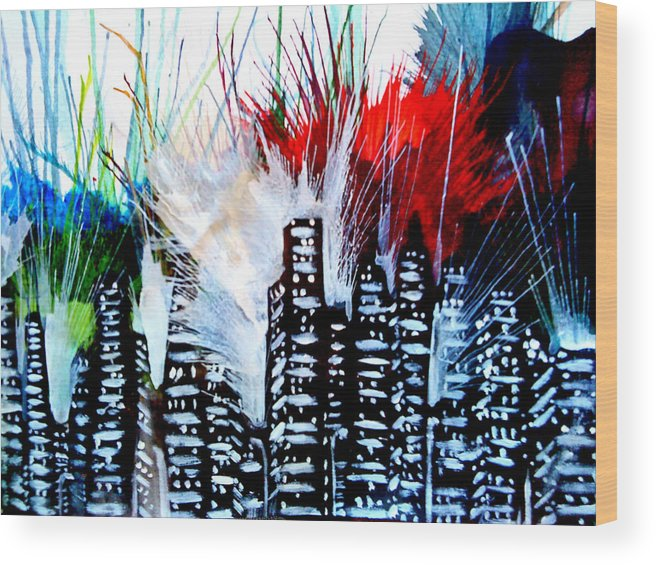 City Fireworks Building Color Explosion Wood Print featuring the painting Light This City by Russell Barnes