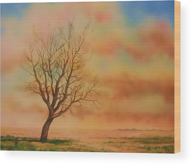 Landscape Wood Print featuring the painting Lone Tree On The Montana Praire by Kevin Heaney