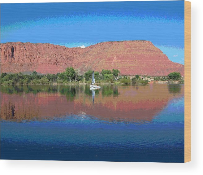 Sailboat Wood Print featuring the photograph Reflections Of Ivins, Ut by Patricia Haynes
