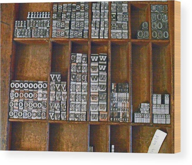 Letters Wood Print featuring the photograph Mackenzie Printery 2 by Cyryn Fyrcyd