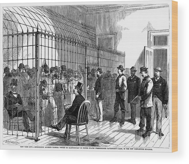 1870 Wood Print featuring the photograph New York: Illegal Voters by Granger