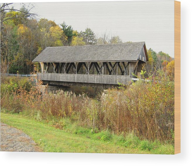 Nh Wood Print featuring the photograph Packard Hill Covered Bridge by Wayne Toutaint