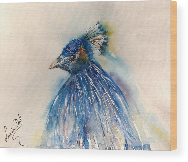 Watercolour Wood Print featuring the painting Peacock by Lucia Del