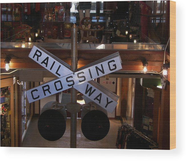 Metal Sign Wood Print featuring the photograph Railway Crossing by Daryl Macintyre
