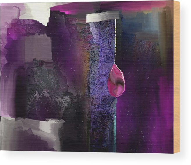 Abstract Wood Print featuring the digital art Ruby Drop by Davina Nicholas
