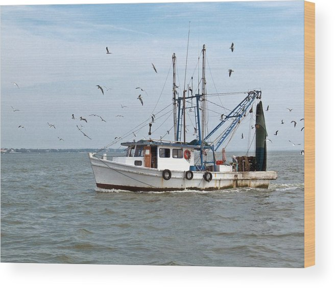 Shrimp Boat At Sea Wood Print featuring the photograph Shrimp Boat And Gulls by Robert Brown