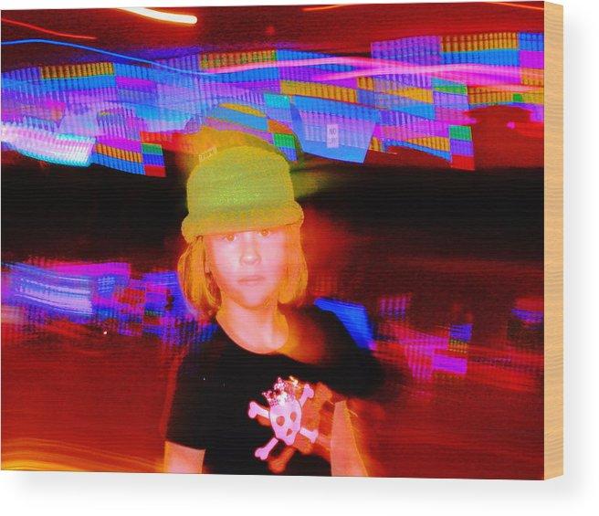 Portrait Wood Print featuring the digital art Skater Kid by Blb Bascomb