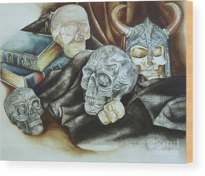 Skulls Wood Print featuring the painting Still Life With Skulls by Elizabeth York