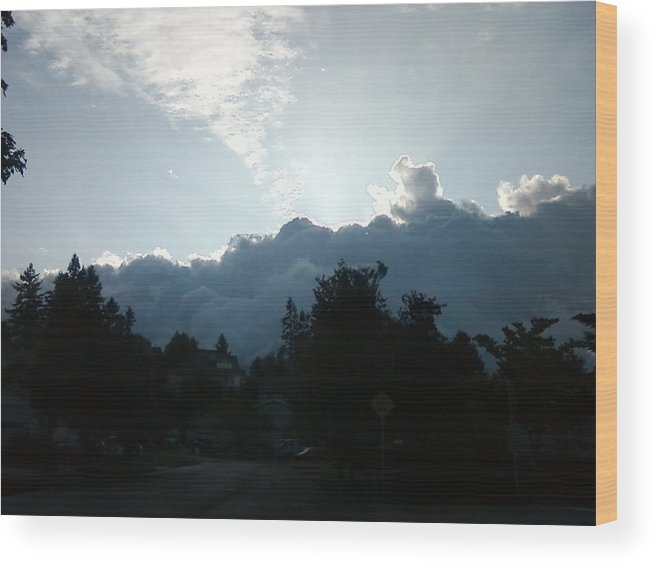 Storm Wood Print featuring the photograph Storm Clouds by Linda Hutchins