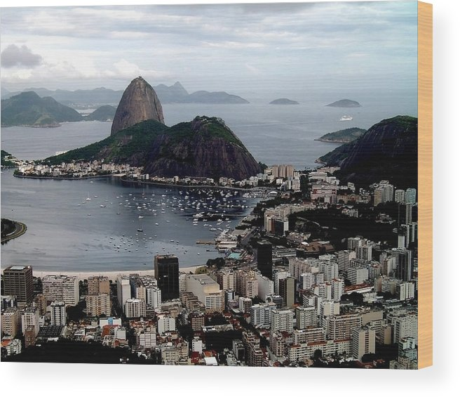 Brazil Wood Print featuring the pyrography Sugarloaf Mountain Brasil by Salty Elbows
