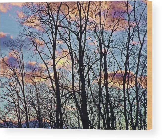 Clouds Wood Print featuring the photograph Sunset Cloud Colors 5 by Dave Dresser