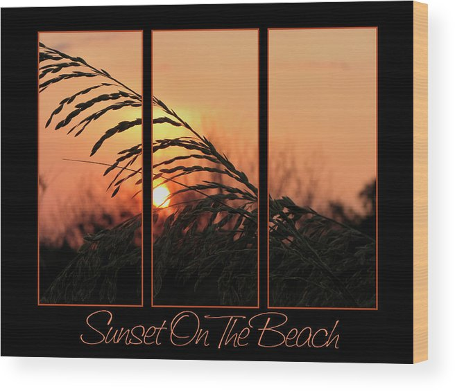 Sunset On Beach Wood Print featuring the photograph Sunset On The Beach by Carolyn Marshall