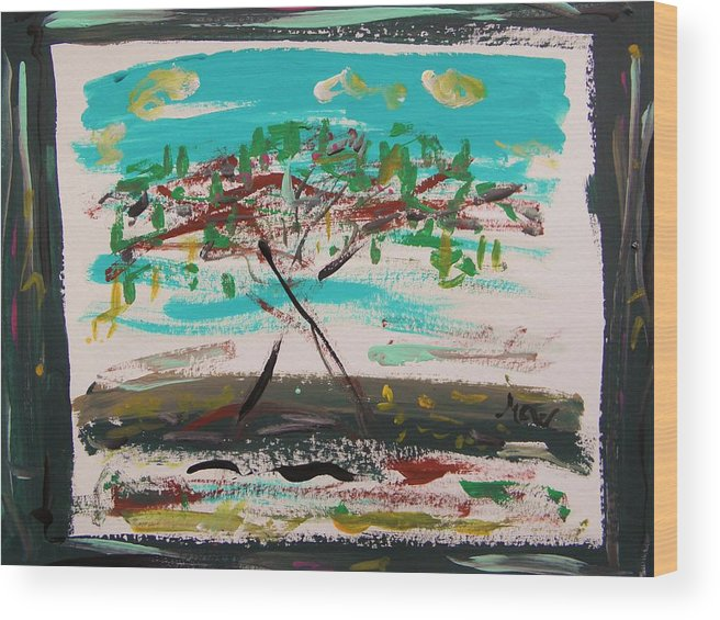 Howard Hodgkin Homage-super Summer Day Wood Print featuring the painting Super Summer Day-homage To Howard Hodgkin by Mary Carol Williams