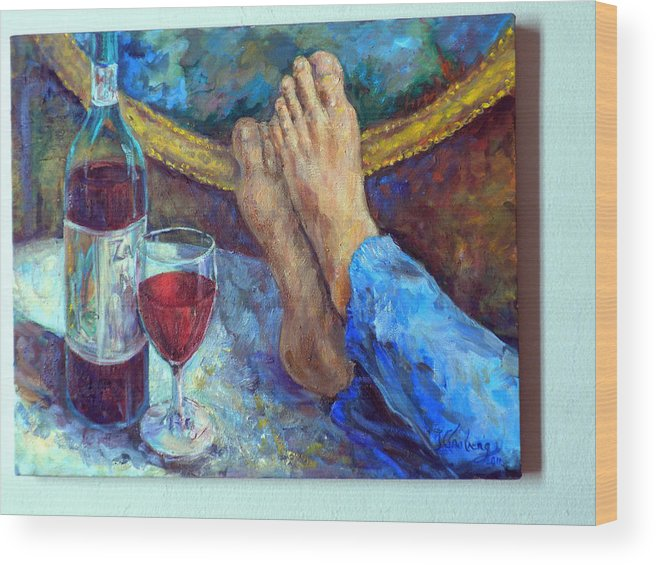 Wine Bottle Painting Wood Print featuring the painting The Good Life by Jean Groberg