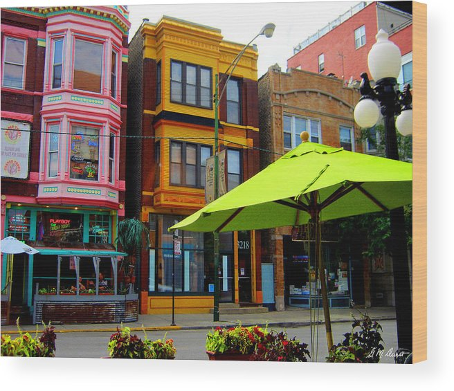 City Wood Print featuring the photograph The Green Umbrella by Michael Durst