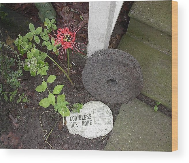 Welcome Wood Print featuring the photograph The Grinding Stone by Peggy Wilburn