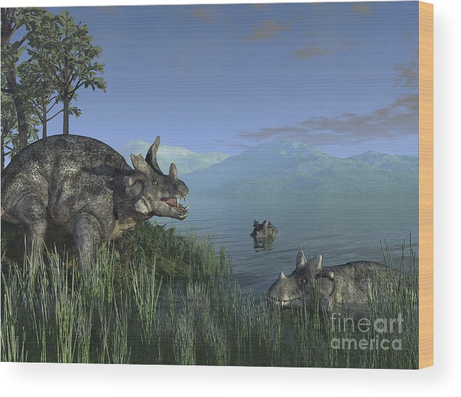 Earth Wood Print featuring the digital art Three Estemmenosuchus Mirabilis Face by Walter Myers
