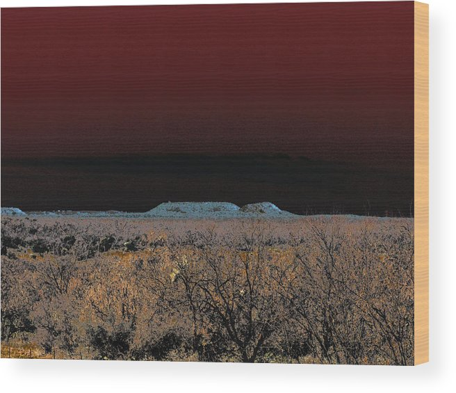 Desert Wood Print featuring the photograph Two Mesas And Thorn Scrub by Louis Nugent