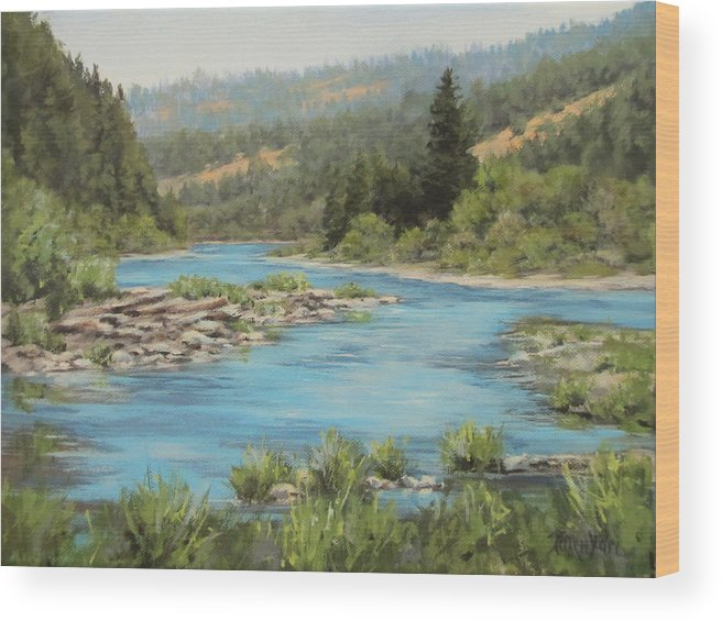 Original Wood Print featuring the painting Tyee Morning by Karen Ilari